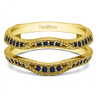 0.24 Ct. Sapphire Millgrained Edge Contour Ring Guard in Yellow Gold