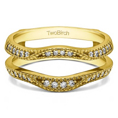 0.24 Ct. Millgrained Edge Contour Ring Guard in Yellow Gold
