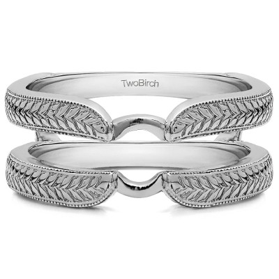 Engraved Cathedral Plain Metal Ring Guard Enhancer