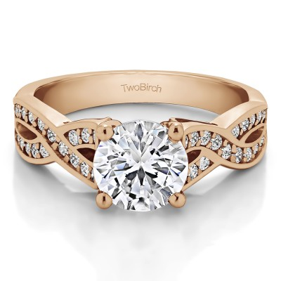 1.92 Ct. Round Engagement Ring with Infinity Shank in Rose Gold