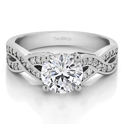 1.92 Ct. Round Engagement Ring with Infinity Shank