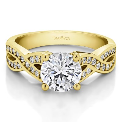 1.92 Ct. Round Engagement Ring with Infinity Shank in Yellow Gold