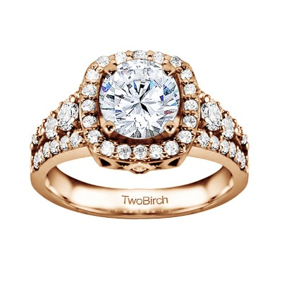 1.18 Ct. Round Halo Engagement Ring in Rose Gold