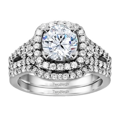 Halo Engagement Ring Bridal Set (2 Rings) (1.47 Ct. Twt.)