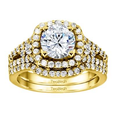 Halo Engagement Ring Bridal Set (2 Rings) (1.47 Ct. Twt.)