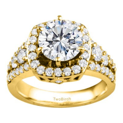1.18 Ct. Round Halo Engagement Ring in Yellow Gold