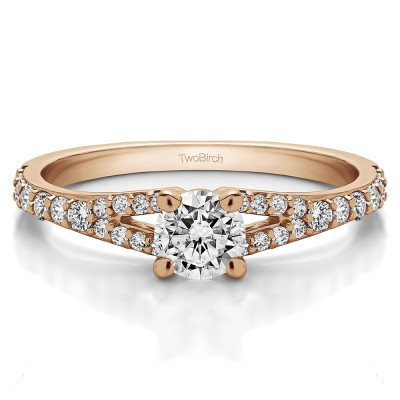 0.83 Ct. Round Delicate Split Shank Engagement Ring in Rose Gold