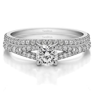 Round Split Shank Engagement Ring Bridal Set (2 Rings) (1.01 Ct. Twt.)