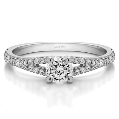 0.83 Ct. Round Delicate Split Shank Engagement Ring