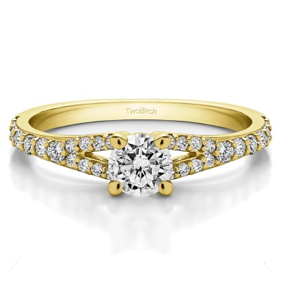 0.83 Ct. Round Delicate Split Shank Engagement Ring in Yellow Gold