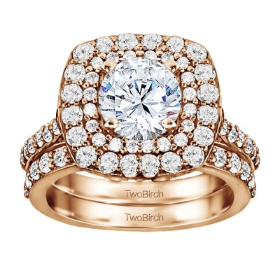 Double Halo Engagement Ring Bridal Set (2 Rings) (1.14 Ct. Twt.)