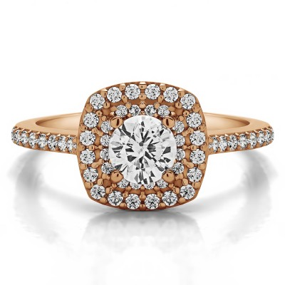 1 Ct. Double Row Round Halo Engagement Ring in Rose Gold