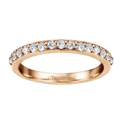 0.16 Carat Low Profile Shared Prong Set Wedding Ring