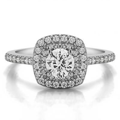 1 Ct. Double Row Round Halo Engagement Ring