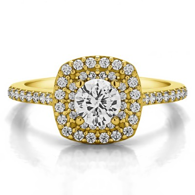 1 Ct. Double Row Round Halo Engagement Ring in Yellow Gold