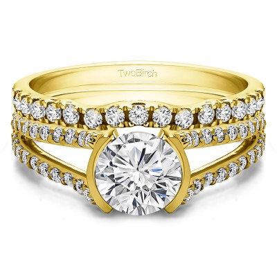 Classic Halo Engagement Ring Bridal Set (2 Rings) (2.24 Ct. Twt.)