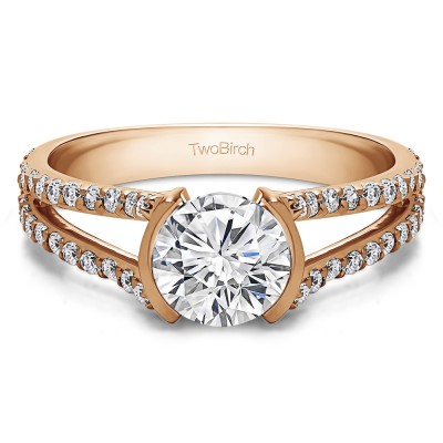 1.98 Ct. Round Bezel Split Shank Engagement Ring in Rose Gold