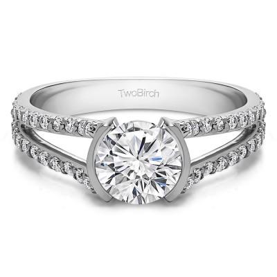 1.98 Ct. Round Bezel Split Shank Engagement Ring