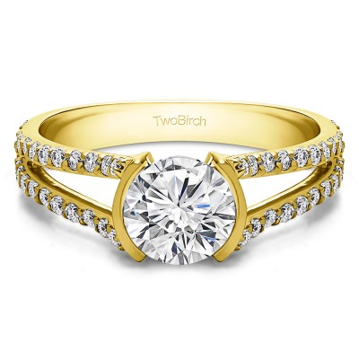 1.98 Ct. Round Bezel Split Shank Engagement Ring in Yellow Gold