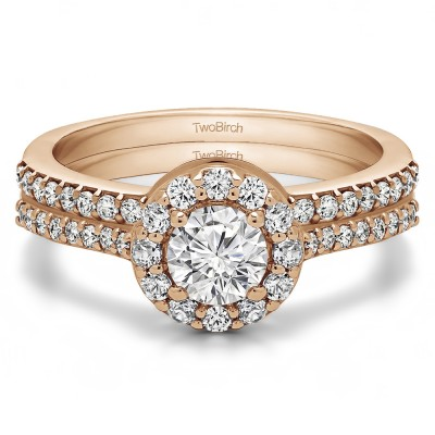 Round Halo Engagement Ring Bridal Set (2 Rings) (1.08 Ct. Twt.)