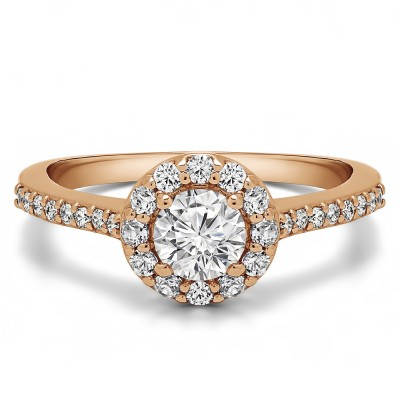 0.92 Ct. Round Halo Engagement Ring in Rose Gold