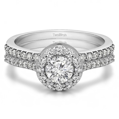 Round Halo Engagement Ring Bridal Set (2 Rings) (1.08 Ct. Twt.)