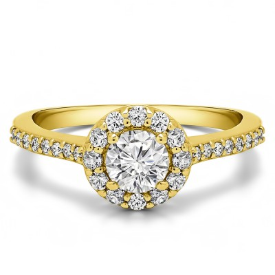 0.92 Ct. Round Halo Engagement Ring in Yellow Gold