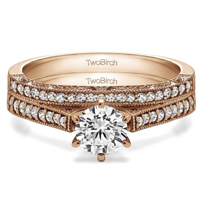 Cathedral Vintage Engagement Ring Bridal Set (2 Rings) (0.63 Ct. Twt.)