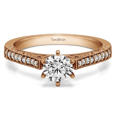 0.47 Ct. Round Cathedral Vintage Millgrain and Filigree Engagement Ring in Rose Gold