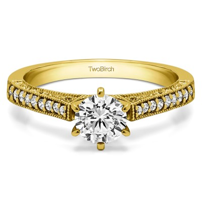 0.47 Ct. Round Cathedral Vintage Millgrain and Filigree Engagement Ring in Yellow Gold