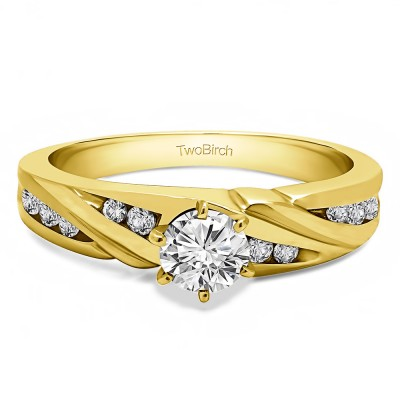 0.31 Ct. Round Infinity Shank Engagement Ring in Yellow Gold