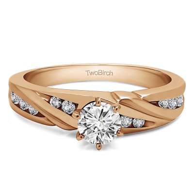 0.49 Ct. Round Infinity Wave Engagement Ring in Rose Gold