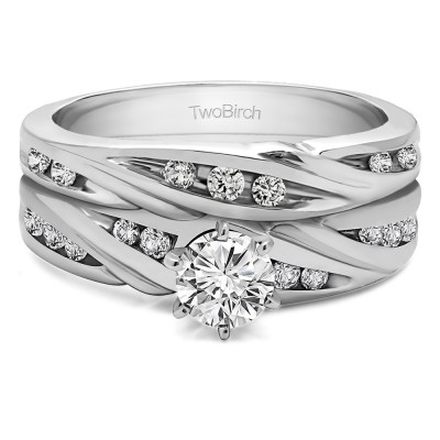 Infinity Wave Engagement Band Bridal Set (2 Rings)(0.62 Ct Twt.)