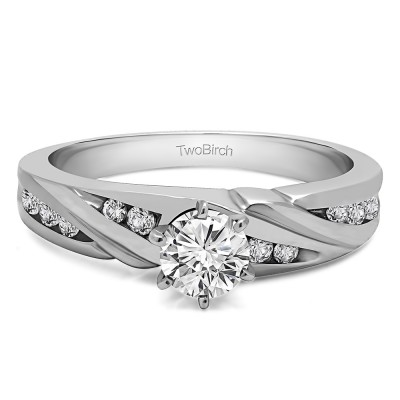 0.49 Ct. Round Infinity Wave Engagement Ring