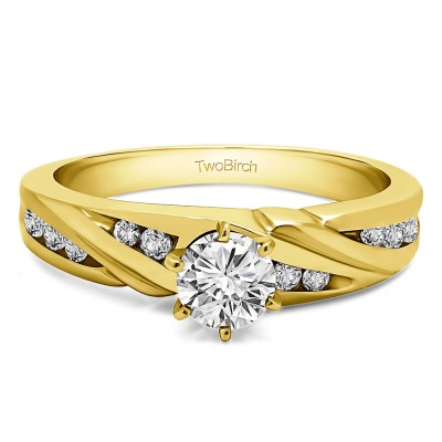 0.49 Ct. Round Infinity Wave Engagement Ring in Yellow Gold