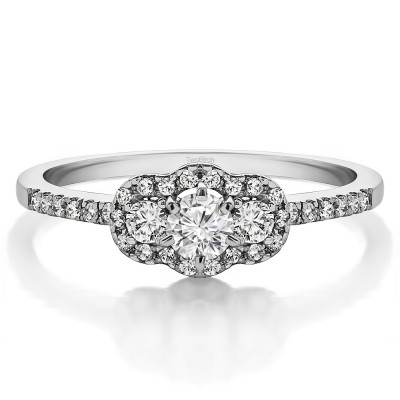 0.45 Ct. Three Stone Round Halo Engagement Ring