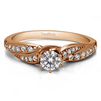 0.32 Ct. Round Infinity Wave Engagement Ring in Rose Gold