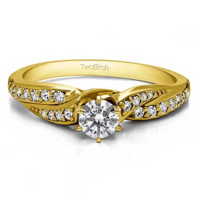 0.32 Ct. Round Infinity Wave Engagement Ring in Yellow Gold