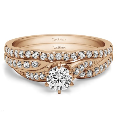 Wave Design Infinity Engagement Ring Bridal Set (2 Rings) (0.57 Ct. Twt.)