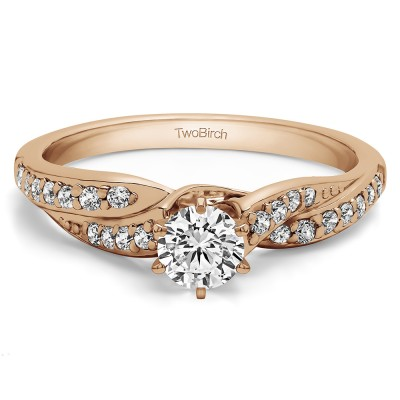 0.54 Ct. Round Infinity Wave Engagement Ring in Rose Gold