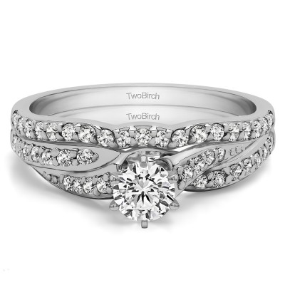 Wave Design Infinity Engagement Ring Bridal Set (2 Rings) (0.78 Ct. Twt.)