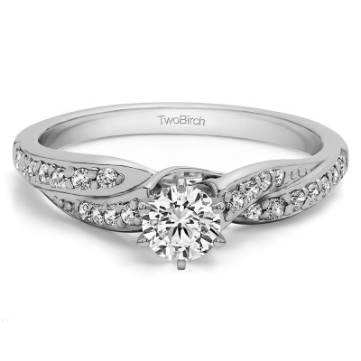 0.54 Ct. Round Infinity Wave Engagement Ring in Silver with CZ (Size 7.25)