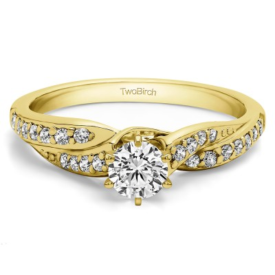 0.46 Ct. Round Twisted Shank Engagement Ring in Yellow Gold