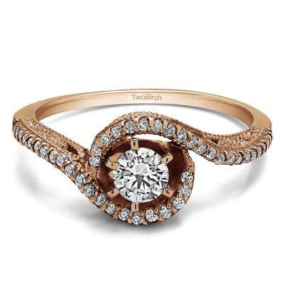 0.72 Ct. Round Bypass Halo Engagement Ring in Rose Gold