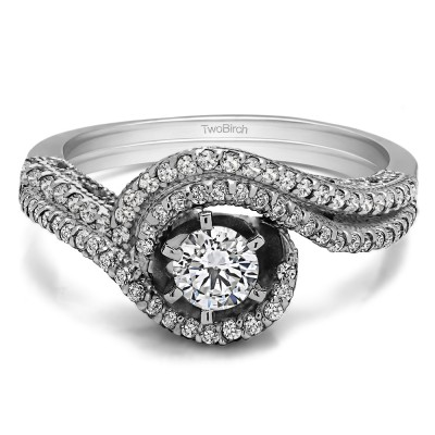 Bypass Halo Engagement Ring Bridal Set (2 Rings) (0.88 Ct. Twt.)