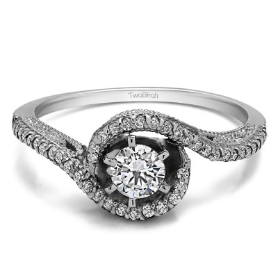 0.72 Ct. Round Bypass Halo Engagement Ring