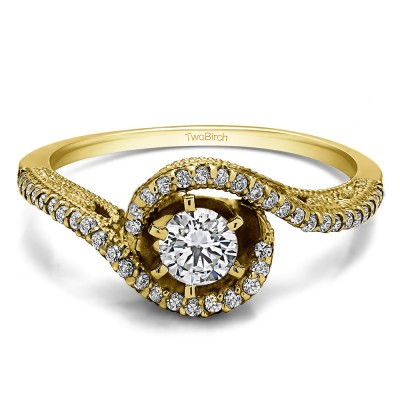 0.47 Ct. Round Vintage Twisted Shank Engagement Ring in Yellow Gold