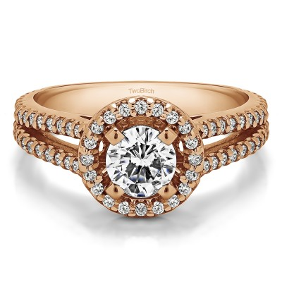0.9 Ct. Split Shank Round Halo Engagement Ring in Rose Gold