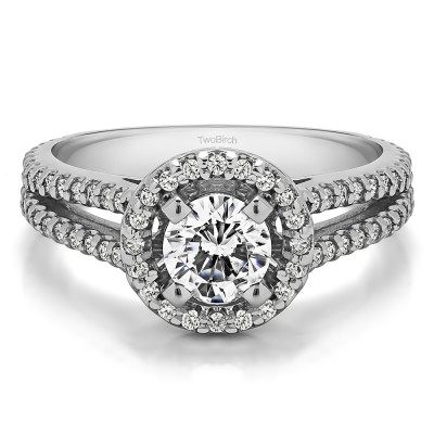 0.9 Ct. Split Shank Round Halo Engagement Ring Sterling Silver and Cubic Zirconia Size 4