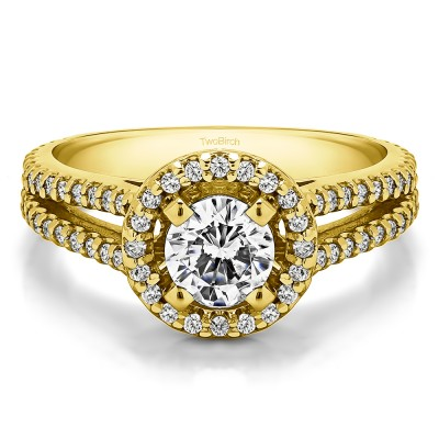 0.9 Ct. Split Shank Round Halo Engagement Ring in Yellow Gold